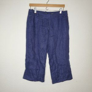 J Crew Navy Linen Cafe Trouser Capri Pants